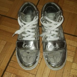 Silver and sequence coach sneakers!